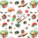 Sushi d'isolement d'aquarelle et peinture japonaise de nourriture sur le blanc Photo libre de droits