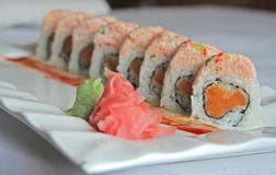 Sushi da batata doce fotografia de stock royalty free