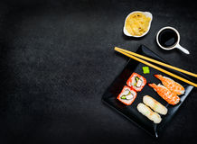 Sushi on Dark Plate with Copy Space Stock Image