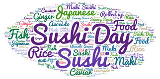 Sushi day. Sushi  day word cloud - isolated on white background Stock Images