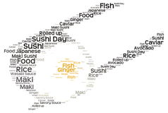 Sushi day. Word cloud - isolated on white background Stock Photo