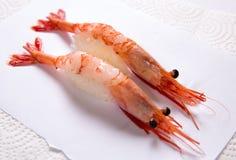 Sushi de Amaebi (camarões doces) Imagem de Stock