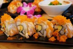 Sushi de color salmón Rolls Fotografía de archivo libre de regalías