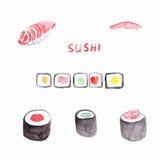 Sushi de la acuarela Imagenes de archivo