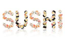 Sushi de la inscripción hecho de rollos en la alta resolución en blanco fotos de archivo libres de regalías