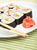 Sushi de la plaque blanche Images stock