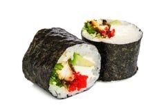 Sushi de Maki, dos rollos aislados en blanco Imagen de archivo libre de regalías