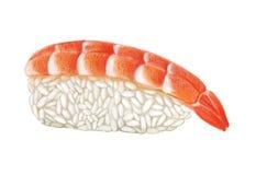 Sushi del camarón con subida y camarón en un fondo blanco Foto de archivo