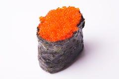 Sushi del caviar del pez volador en el fondo blanco Imágenes de archivo libres de regalías
