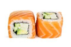 Sushi del maki de Uramaki, dos rollos aislados en blanco Fotografía de archivo libre de regalías