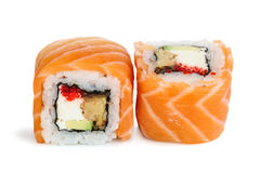 Sushi del maki de Uramaki, dos rollos aislados en blanco Fotos de archivo