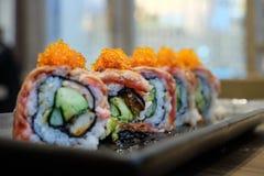 Sushi del manzo di Wagyu con l'avocado immagini stock libere da diritti