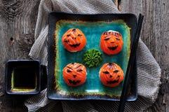 Sushi del partido de Halloween, sushi de Temari, bolas del sushi Fotos de archivo