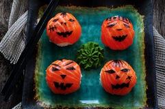 Sushi del partido de Halloween, sushi de Temari, bolas del sushi Imagen de archivo libre de regalías