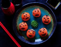 Sushi del partido de Halloween, sushi de Temari, bolas del sushi Fotos de archivo libres de regalías