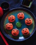 Sushi del partido de Halloween, sushi de Temari, bolas del sushi Fotografía de archivo