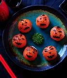 Sushi del partido de Halloween, sushi de Temari, bolas del sushi Fotografía de archivo libre de regalías