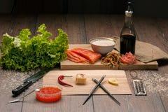 Sushi del rotolo nell'amore di parola Immagine Stock