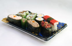 Sushi del supermercato Fotografie Stock Libere da Diritti