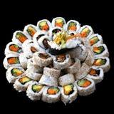 Sushi del vegano en una placa grande Imágenes de archivo libres de regalías