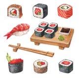 Sushi delicioso. Ilustrações de Watercollor Fotografia de Stock Royalty Free