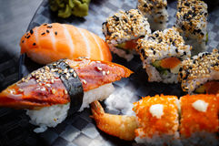 Sushi. Delicious and fresh sushi made at a fine dining restaurant in Venice, FL royalty free stock photo