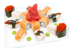 Sushi. Delicious seafood sushi at a Japanese restaurant stock photo