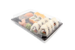 Sushi delivery box on white background. Japan menu in black transport box. Stock Photography