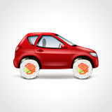 Sushi delivery car concept vector illustration Royalty Free Stock Photo