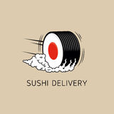 Sushi delivery logo template (concept). Vector illustration. Royalty Free Stock Photography