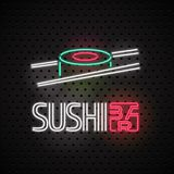 Sushi, sushi delivery service neon sign as a logo or emblem in vector Stock Photography
