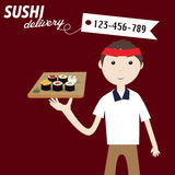 Sushi delivery service Stock Image