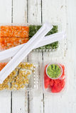 Sushi delivery set packaging with wasabi and ginger Royalty Free Stock Photo