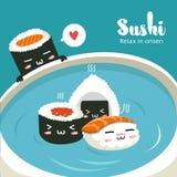 Sushi in der Sojasoße der heißen Quellen in der großen Schale stock abbildung
