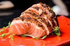 Sushi di color salmone Immagini Stock
