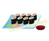 Sushi di color salmone Rolls Immagini Stock Libere da Diritti