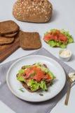 Sushi di color salmone sul pane e sull'insalata Immagine Stock