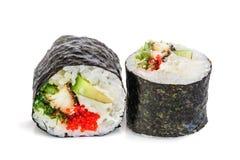 Sushi di Maki, due rotoli isolati su bianco Fotografie Stock Libere da Diritti