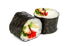 Sushi di Maki, due rotoli isolati su bianco Immagine Stock Libera da Diritti