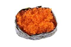 Sushi di Tobiko Gunkan con la vista superiore uovo di pesce dei pesci Fotografia Stock