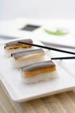 Sushi di Unagi Nigiri fotografie stock libere da diritti