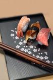 Sushi, die auf einer Frühlingsplatte mit Ess-Stäbchen liegen Lizenzfreie Stockfotografie