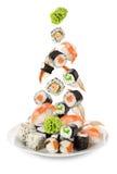Sushi die in de plaat vallen Stock Foto