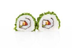 Sushi die op wit worden geïsoleerde. Royalty-vrije Stock Foto's
