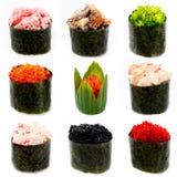 Sushi différents, éperlan, oeufs de poissons de vol, Image stock