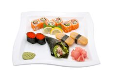 Sushi different nations. Neatly on a platter lined with sushi Royalty Free Stock Photography