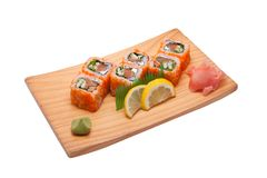 Sushi different nations. Neatly on a platter lined with sushi Stock Images