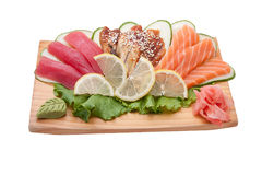 Sushi different nations. Neatly on a platter lined with sushi Stock Photo