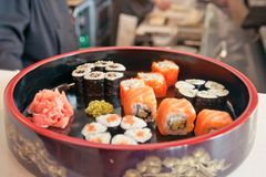 Sushi different nations Royalty Free Stock Images