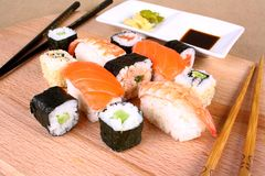 Sushi Dining pleasure for two with wasabi Royalty Free Stock Images